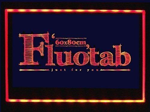 FluoTab - Tablón luminoso publicitario LED, (fluorescente, con mando a distancia, 80 x 60 cm)