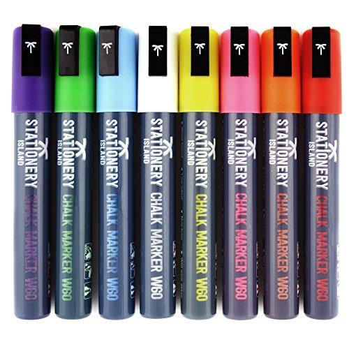 Rotuladores de tiza líquida Stationery Island – 8 colores [Estuche de 8 marcadores] (Punta biselada 6mm) (Tubo Gris - BORRADO CON PAÑO HÚMEDO)