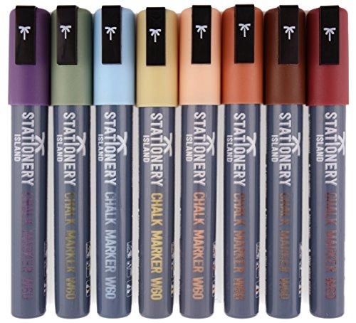 Rotuladores de Tiza Líquida Stationery Island – 8 colores tonos tierra [Estuche de 8 marcadores] (Borrado con paño húmedo – Punta biselada 6mm)